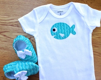 Baby Girl Onesie with Baby Girl Shoes, Size 3 mos Onesie, Gift Set, Baby Girl One Piece, Fish Baby, Gift for Baby Girl, Ready to Ship