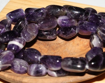"16"" Strand of 16 X 10mm To 19 X 12mm Smooth Tumbled Amethyst Nugget Beads #83"