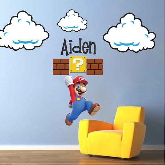 Genial Super Mario Room Cloud Wall Decal Stickers, Bedroom Cloud Wall Murals, Super  Mario Wall Mural Decals, Nintendo Wall Designs, Cloud Art, B98