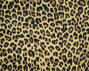 1/2 YARD, CREPE PRINT, Brown Black Leopard Spots, Fine Fashion or Craft Fabric, Lightweight Polyester, B21