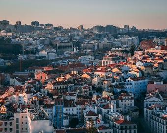 Travel and Urban Photography, Lisbon (Lisboa), Portugal Skyline at Sunset, Large Art Horizontal Print, Europe