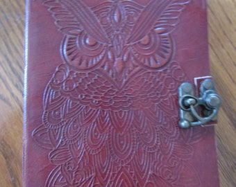 Owl Embossed Leather Journal Book of Shadows