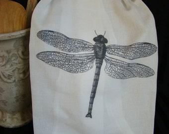 Dragonfly tea towel  -Black and White Kitchen  Flour Sack towel