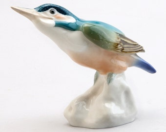A Meissen Porcelain Figure Of A Kingfisher Bird, 1956, Originally Molded By Paul Walther. Blue Crossed Swords Mark, Incised Model No. H124