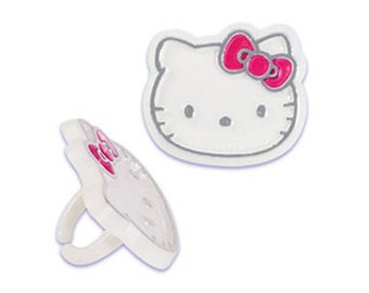 Hello Kitty Foil Cupcake Rings Cake Decor Toppers