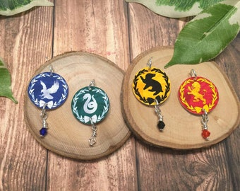 Necklace Hogwarts House Inspired Gryffindor, Hufflepuff, Ravenclaw, Slytherin. Pearls, Charms Gift for Her, Birthday, Valentines Day
