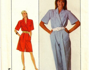 """A Front Wrap, Short Sleeve, Long or Short Length, Collared Jumpsuit Sewing Pattern for Women: Uncut - Size 10 Bust 32-1/2"""" • Simplicity 9021"""