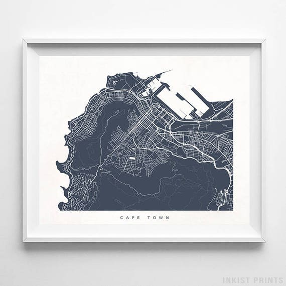 Cape town map south africa print south africa poster cape