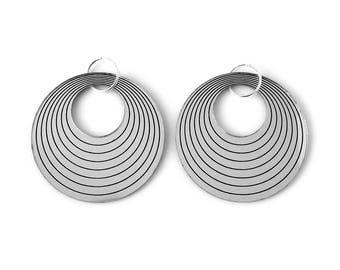 Statement hoop earrings - concentric - silver mirror - big earrings - graphic jewelry - minimalist jewellery - designer - lasercut acrylic
