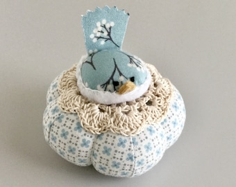 Blue and White Floral Bird Pincushion Cute Bird Pin Cushion Pin Cushion