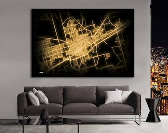 ODESSA Texas Night Lights Map Large Horizontal Wall Art Map Odessa TX Modern Art Neon City Street Map of Odessa NLM