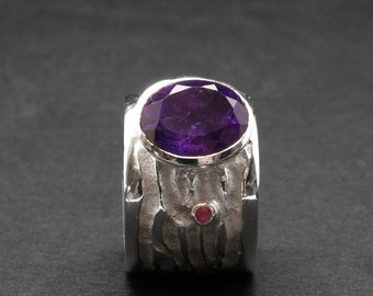 Purple Amethyst Wide Band Sterling Silver Ring, Big Cocktail Ring, Natural Amethyst February Birthstone Ring, Fashion Large Gemstone Ring