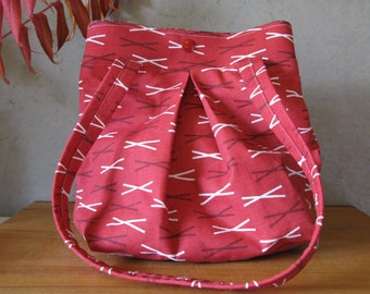 Red Sticks Soft Purse Tote Slouchy Boho Graphic Project Bag