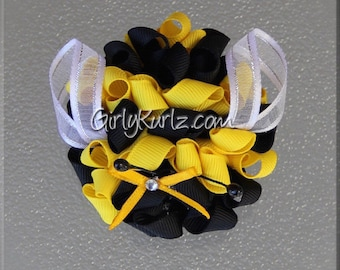 Bumble Bee Hair Bow, Bumble Bee Bow, Bumble Bee Hair Clip, Bumble Bee Kurly Pom Pom, Ribbon Sculpture