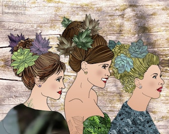 botanical art, Succulent Sisters, garden plants decor, home decor, nature lovers, sunroom decor, floral tattoo art,best friends,feminine art