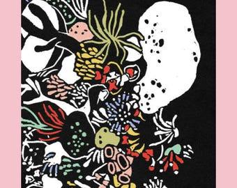 lino print, Kleurrijke Koralen, illustratie