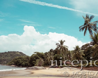Empty tropical beach downloadable digital art print