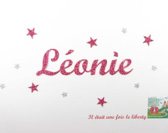 Applied fusible customizable glitter name of 6 letters (example, Leonie) glitter fabric (colors)