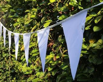 White bunting flags - outdoor bunting waterproof fabric banner, pennant flags, 14+ meters - 12.5+ yard
