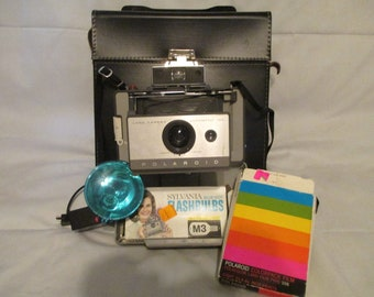 Polaroid Camera - Vintage Polaroid 103 Automatic Land Camera with case, bag, and flash Collectible Instant Folding Camera 3-T