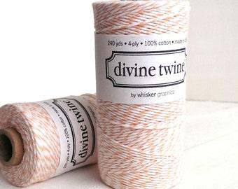 Peach twine - full spool - 240 yards - Peach Divine Twine bakers twine - peach and white twine - Divine twine