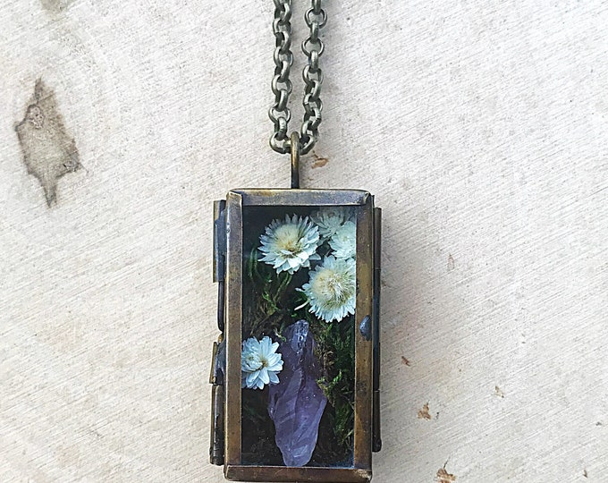 Crystal Garden Shadow Box Necklace, Reiki-Infused Amethyst Pendant, Natural Purple Healing Stone, Flower Nature Jewelry, Bohemian style