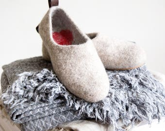 READY to SHIP Valenki houseshoes with hearts Love clogs,  beige wet felted slippers in Eu size 38, 39/us women's 8, 8.5