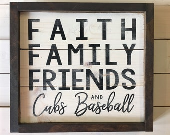 Ready to Ship | Chicago Cubs Baseball Sign | Farmhouse Decor | Grandparent Gift | Rustic Wall Decor | Baseball Decor | Sports Decor | Cubs