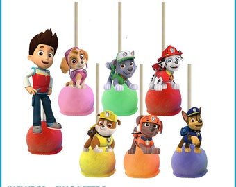 Paw Patrol Cake Pop Toppers Printables -- DIGITAL -- All 7 characters -- 2-SIDED -- Also works on cupcakes!