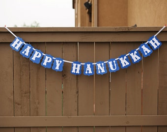 HAPPY HANUKKAH banner for Hanukkah Parties, Decoration, Mantle | Blue & White