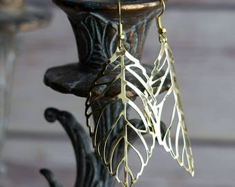 Gold Leaf Drop Earrings, Gold Earrings, Leaf Earrings, Long Earrings, Statement Earrings, Dangle Earrings, Simple Earrings