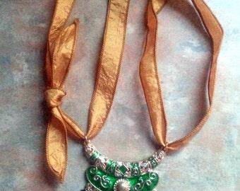 Beautiful Gold Finish Enamel Pendant Silk Ribbon Necklace/Boho/Gypsy