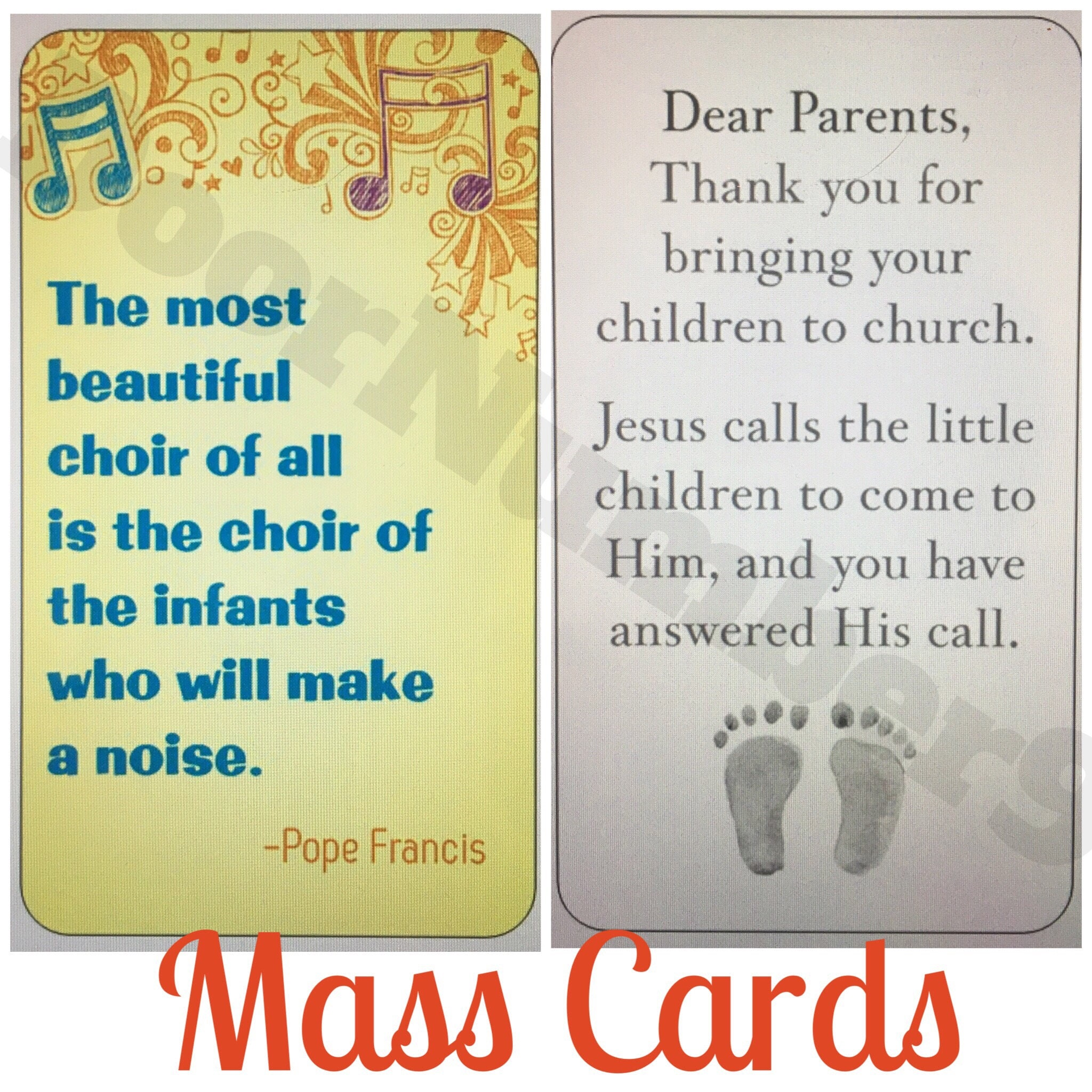 Mass Cards for Parents of Young Children Children in Church