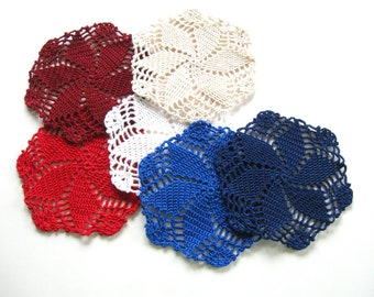 Americana Decor, Star Crocheted Coasters, Drink Coaster, Glass Mats, Farmhouse Country Decor, Set of Six, Red White and Blue Patriotic Decor