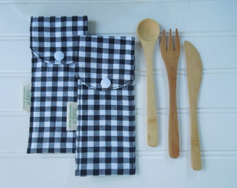 Reusable bamboo cutlery and carrying pouch  - Picnic cutlery case - Flatware pouch - Bamboo cutlery -  Black/white checkers