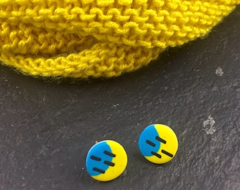 Polymer clay studs - Fun colour studs - graphic earrings - blue and yellow studs -silver earrings -  small circle earrings - round studs