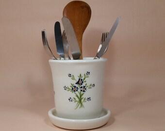 Kitchen utensil holder, Ceramic utensil holder and a saucer, white ceramic, pottery utensil holder, utensil crock, retro vintage style