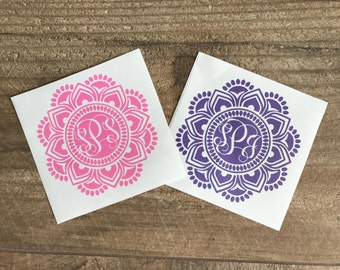 1 Color Mandala Monogram, 1 Color Mandala Decals, Mandala Monogram, Mandala Monograms for Yeti's, Monograms for Cups, Personalizing Sticker