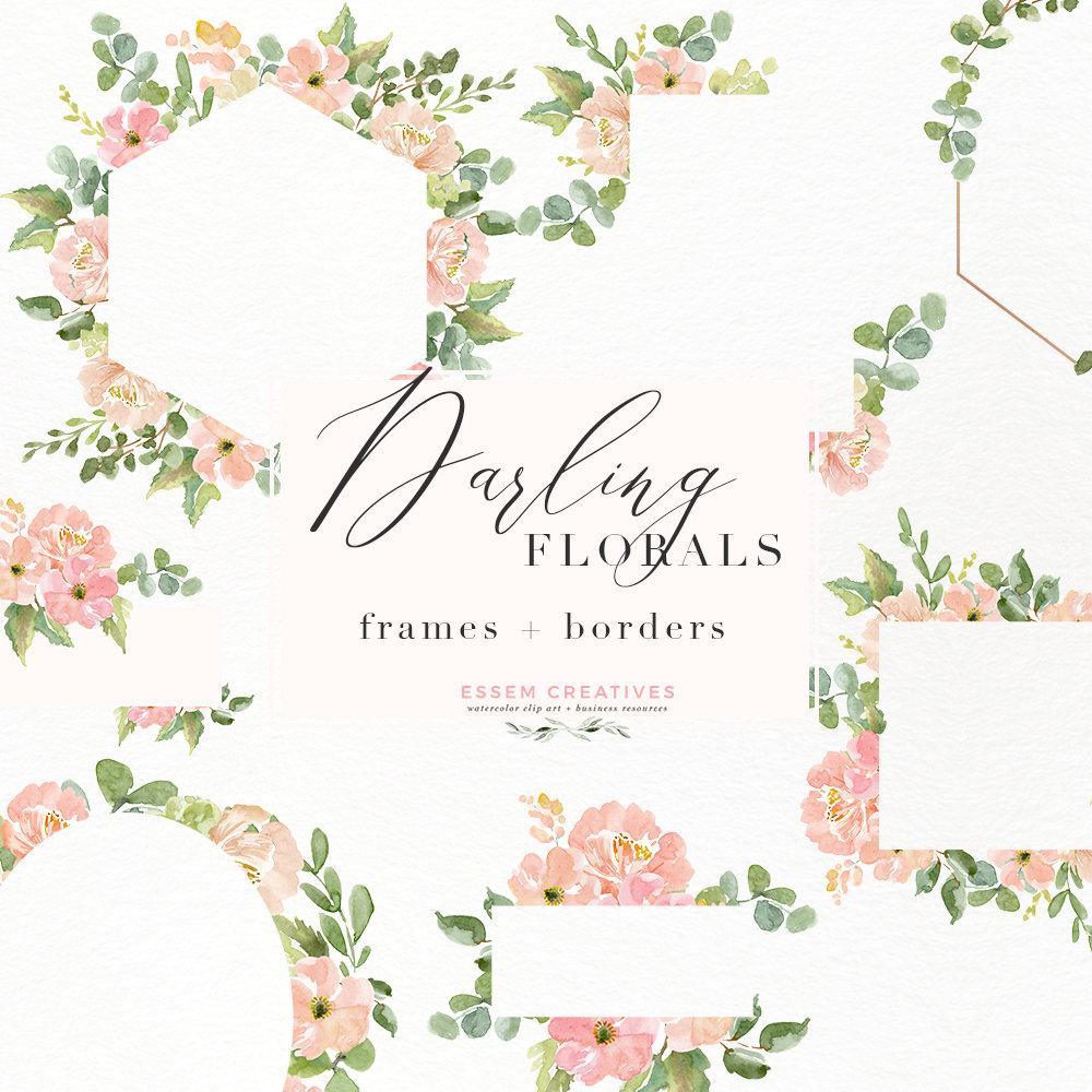 Watercolor Flowers Clipart, Floral Frames Clipart, Southwestern ...