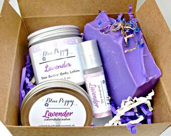Lavender Gift Box Set, Lavender Bath Set, Beauty Gift, Soap Bath Gift, Spa Gift Set, Soap Lotion Perfume, Gift for Her, Bridal Shower Gift
