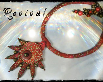 "The 3 in 1 ""Revival"" - necklace or bracelet wrap - fabric dominant red, purple, rust, fuchsia, Garnet - light khaki and green patterns"