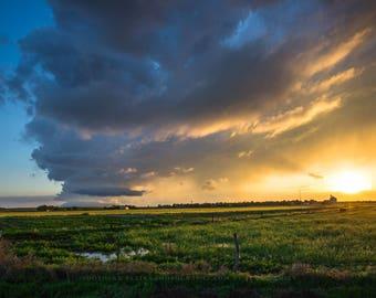 Oklahoma Photography, Oklahoma Sky Print, Stormy Sunset Print, Storm Artwork, Fine Art Landscape, Storm Cloud Art, Oklahoma Panhandle, Sun