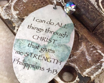 I Can Do All Things Philippians 4:13 Spoon Necklace, Inspiring Jewelry, Silverware Jewelry, Religious Gift,Scripture Necklace