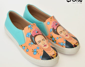 KAHLO - Frida shoes, art shoes, custom art slip-on, floral shoes, summer shoes, handpainted art shoe, mexican, inspired design shoe