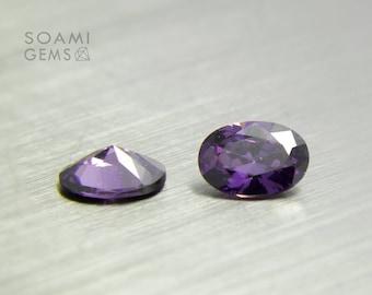 Loose Cubic zirconia purple, 4x6, 5x7, 5x8, 6x9, 7x10, 9x11 mm oval cut amethyst cubic zirconia faceted gem