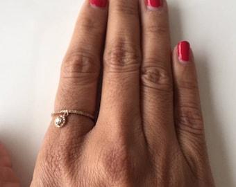 14kt Rose Gold Bezel Dangle Ring