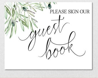 Guest Book Sign Printable Template, Please Sign our Guest Book Olive Branch Template, Wedding Sign DIY PDF Template | VRD135GWC