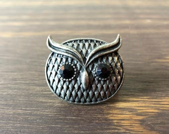 Vtg 90s Boho Bohemian Owl Ring with Adjustable Band Rustic
