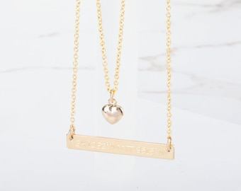 Personalized double layered Tiny Heart love Bar necklace,Bar Monogram Necklace,tiny dot bar necklace, Initial Rectangle necklace