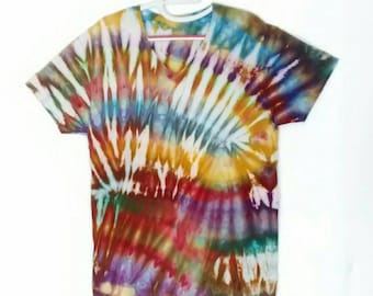 Ice Dyed Tee Shirt men's size Large in Blue Brown Gold Purple